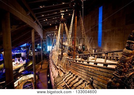 STOCKHOLM, SWEDEN - JULY 27, 2012: Famous ancient reconstructed vasa vessel in Stockholm, Sweden