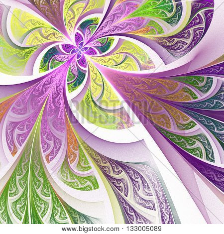 Fractal flower or butterfly background in stained-glass window style. Artwork for creative design art and entertainment.