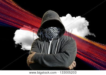 Masked Computer Hacker Thief Concept