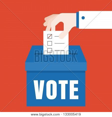 business hand Vote illustration, Vote for election concept vector, flat design