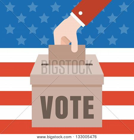Vote illustration with american flag background, Vote for america 2016 election concept vector, flat design