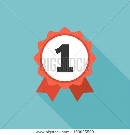 Circular ribbon winners first rosette icon, flat design
