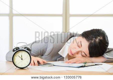 Tired Woman Are Sleeping And Holding Smart Phone