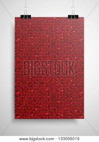Abstract background. A poster on the wall at the terminals of the paper. Red sequin background. EPS 10.
