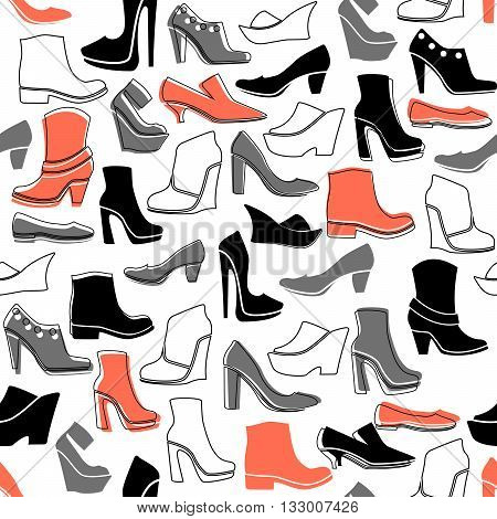 seamless pattern with multicolor icons of shoes