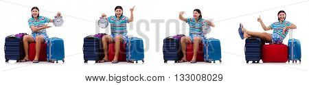 Man travelling with suitcases isolated on white