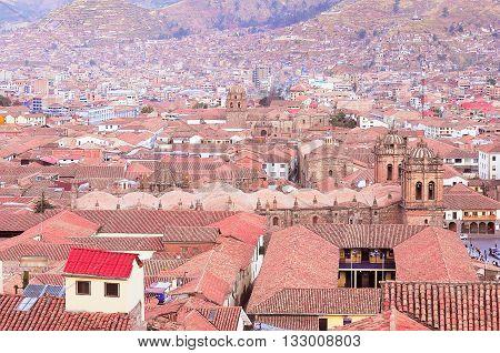 Aerial view of Cuzco city center. Peru.