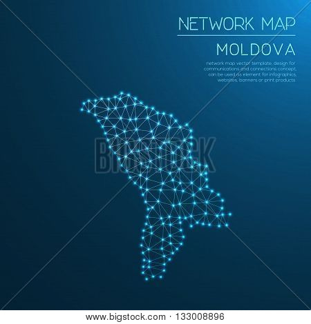 Moldova, Republic Of Network Map. Abstract Polygonal Map Design. Internet Connections Vector Illustr