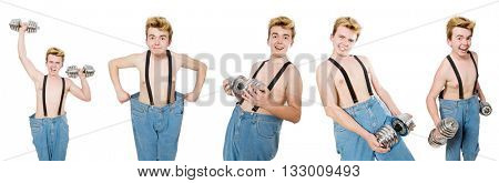 Collage of funny man with dumbbells on white