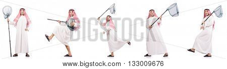 Arab man with catching net isolated on white