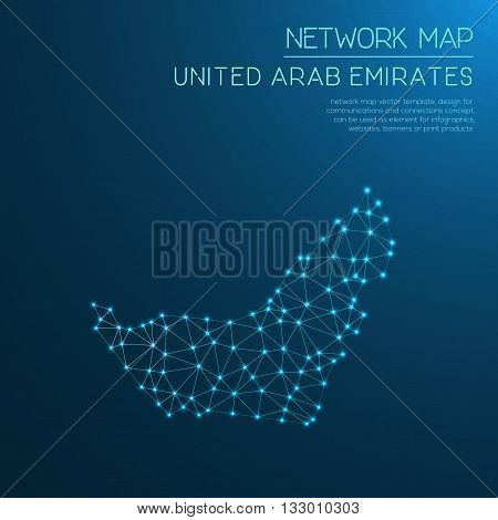 United Arab Emirates Network Map. Abstract Polygonal Map Design. Internet Connections Vector Illustr