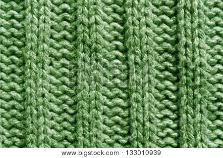 Abstract Green Knitting Texture Close-up.