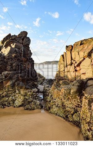 Australian beach coastline at 'Delicate Nobby' highlighting rock formations at low tide