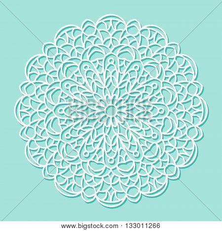Beautiful mandala lace ornament on blue background for cards or invitations. Mandala round element. Vector illustration