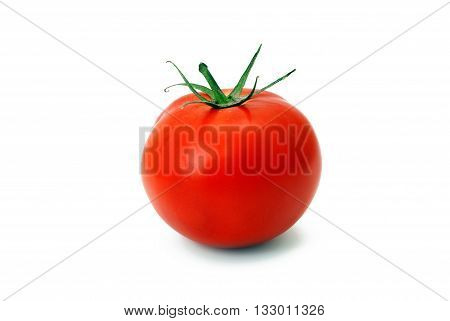 Fresh ripe tomato isolated on white background