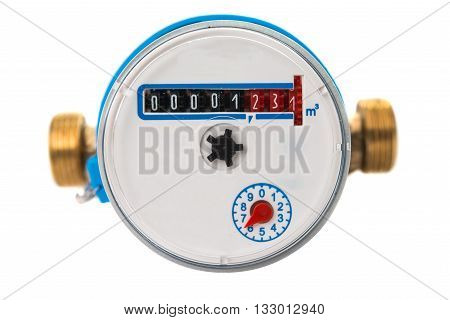mechanical water meter isolated on white background