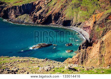Wild Beach Located At Ponta De Sao Lourenco