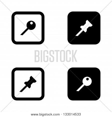 Vector black push pin icons set on white background