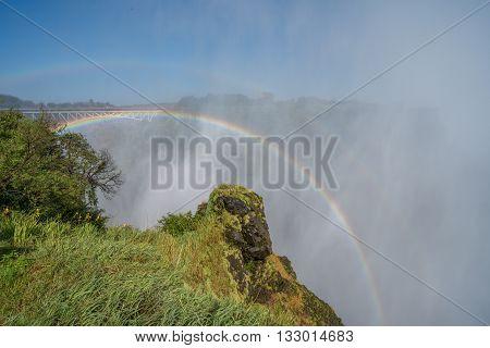 Double Rainbow Over Victoria Falls In Spray