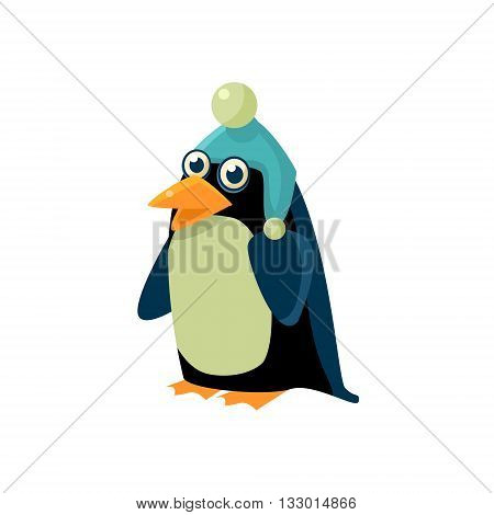 Penguin Wearing Winter Hat Illustration. Funny Childish Vector Penguin Drawing. Flat Isolated Cartoon Animal Icon.
