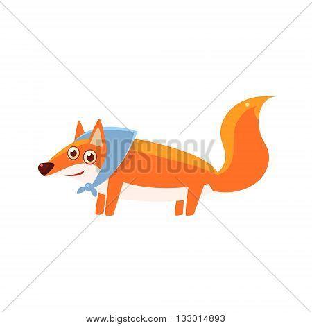 Fox Wearing Headscarf Illustration. Funny Childish Vector Fox Drawing. Flat Isolated Cartoon Animal Icon.