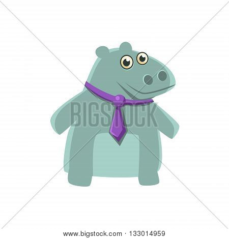 Hippo Wearing Neck Tie Illustration. Funny Childish Vector Hippopotamus Drawing. Flat Isolated Cartoon Animal Icon.