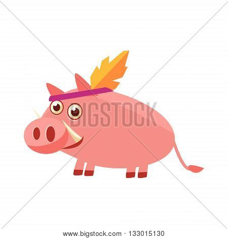 Pig Wearing Indian Head Gear Illustration. Funny Childish Vector Pig Drawing. Flat Isolated Cartoon Animal Icon.