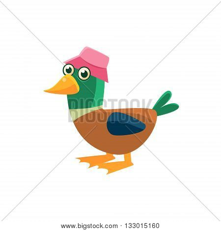 Duck Wearing Pink Hat Illustration. Funny Childish Vector Duck Drawing. Flat Isolated Cartoon Animal Icon.
