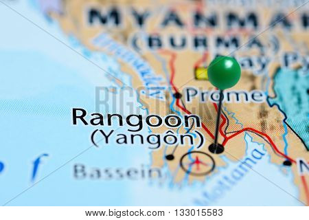 Rangoon pinned on a map of Myanmar