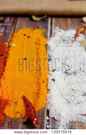 Colourful spices on the table. Various Spices in on wooden background. Spices background. Curry. Coconut