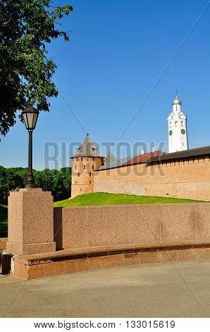 The Metropolitan Tower and Clock Tower of Novgorod Kremlin Veliky Novgorod Russia - architectural landscape