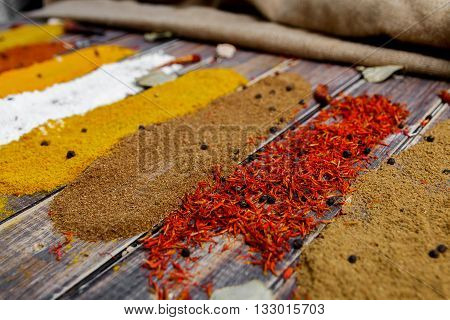 Colourful spices on the table. Various Spices in on wooden background. Spices background. saffron curry