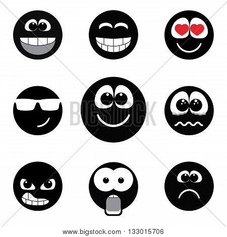 Set of different emotions, smiley faces expressing different feelings. Black and white version