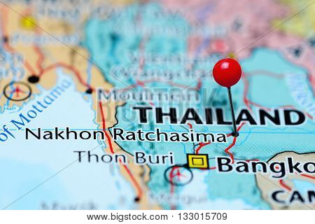 Nakhon Ratchasima pinned on a map of Thailand