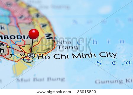 Ho Chi Minh City pinned on a map of Vietnam