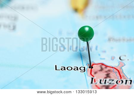 Laoag pinned on a map of Philippines