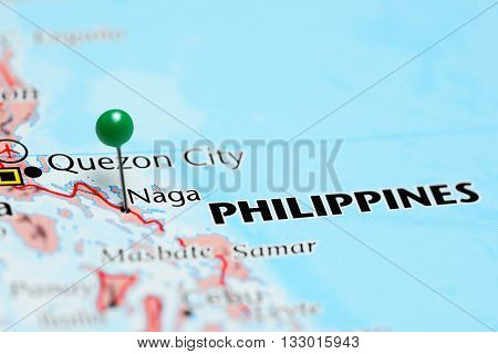 Naga pinned on a map of Philippines