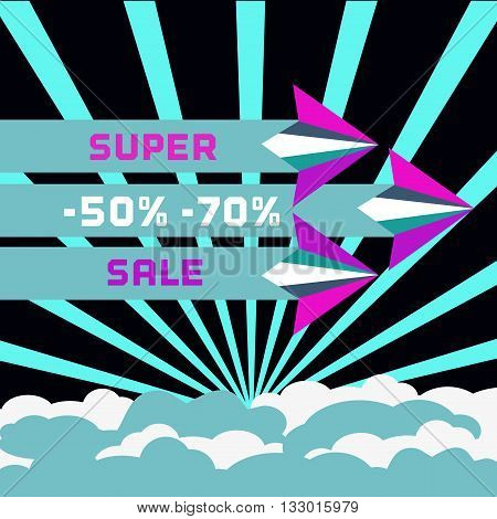 Paper plane. Super sale Concept. Paper airplane fly. Sale poster discount banner. Travel super sale Special offer sale season. Discounts bonus. Sale Bonus Marketing campaign. Vector illustration