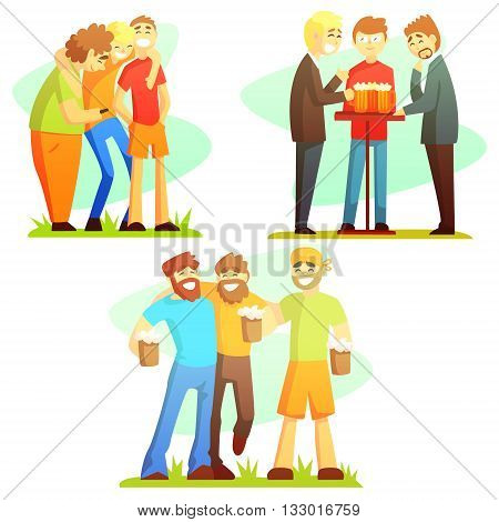 Man Friendship Three Colorful Illustrations. Guy Friends Drinking And Hanging Out Together Laughing And Smiling Friends Vector Flt Drawings.