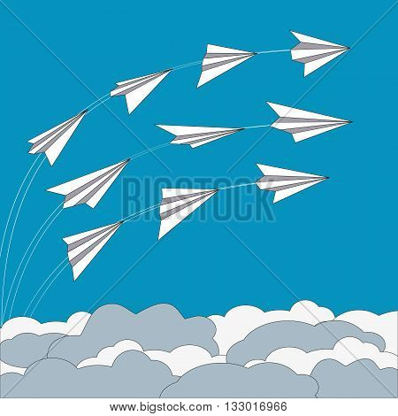 Paper planes poster. Origami paper airplanes. Trail from airplane in blue sky. Banner advertising airline travel business with flying folded paper airplanes. Vector Illustration