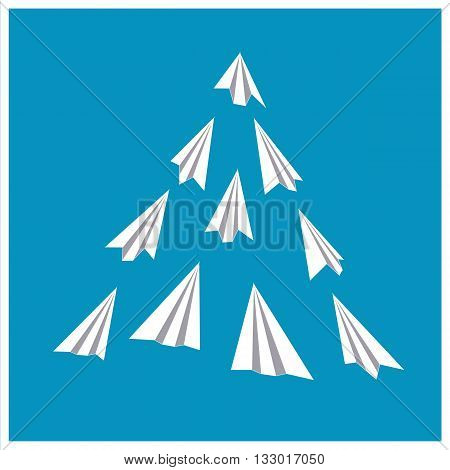 Paper planes poster. Origami airplanes folded paper. Presentation poster template. Banner advertising airline travel business with flying folded paper airplanes. Vector Illustration