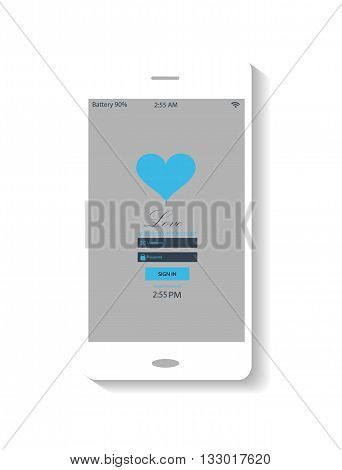 flat Smartphones interface vector with heart icon