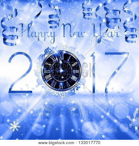 New Year numerals with a Clock and hanging ribbons