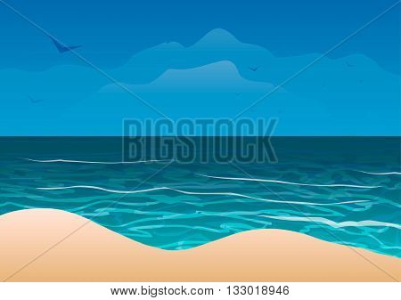 Vector illustration. Ocean coast and sand beach.