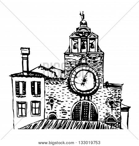 Picture Church San Giacomo di Rialto in Venice sketch graphic hand drawn vector illustration
