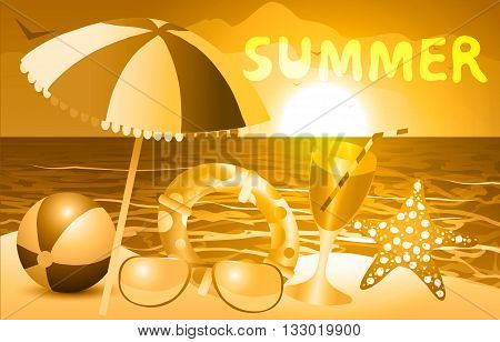 Vector illustration. Summer beach and sea vacation in sepia.