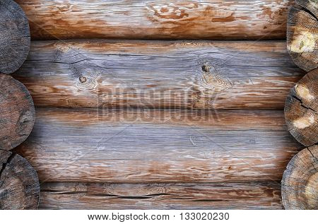 The wall made of wooden logs. Background
