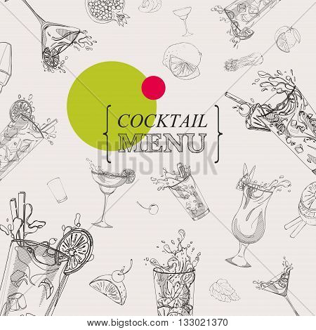 cocktail menu template with cocktails and ingredients