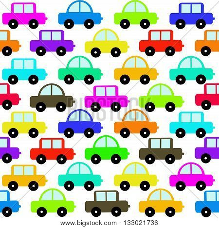 Cartoon toy cars seamless background on white