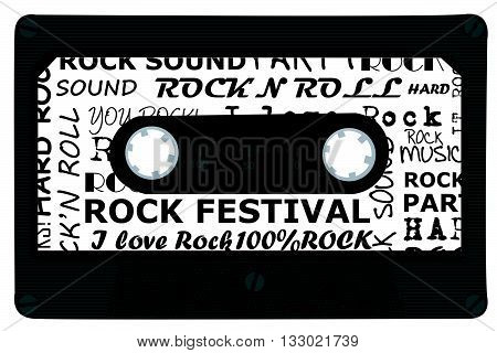 Audio cassette tape with rock music on white background